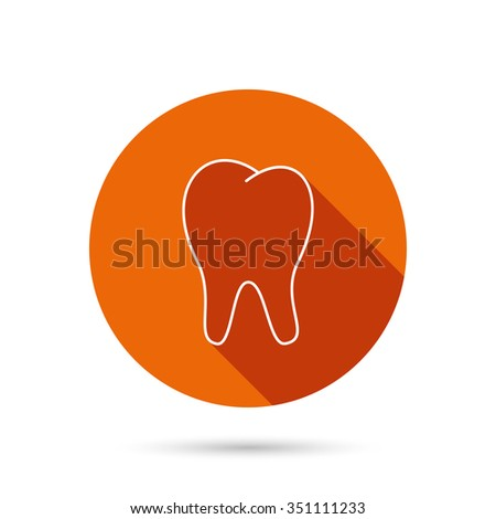Tooth icon. Stomatology sign. Dental care symbol. Round orange web button with shadow. - stock vector