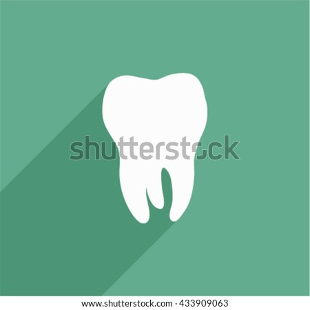 Tooth icon with  shadow. Flat design style.  - stock vector