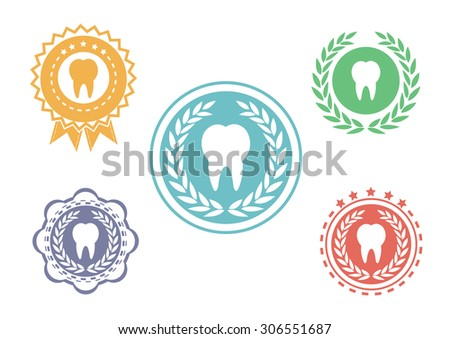 Tooth icons set ,Tooth logo set,Tooth label set - stock vector