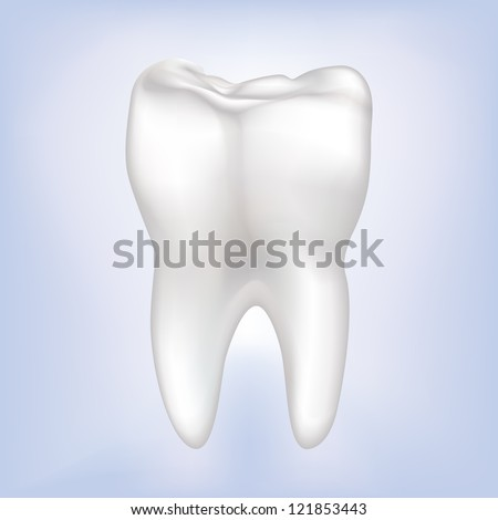 Tooth on a blue background. Vector Illustration. - stock vector