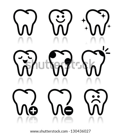 Tooth , teeth vector icons set - stock vector