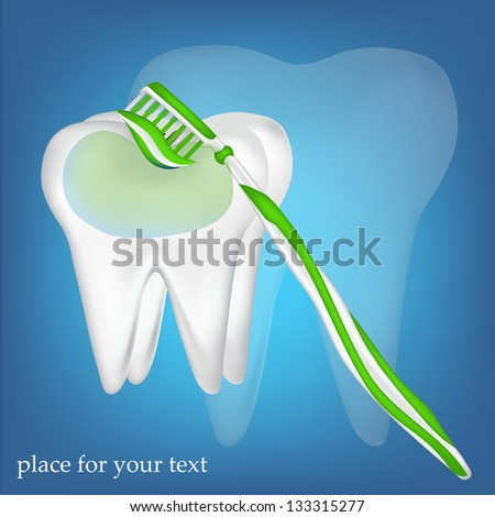 tooth,  toothbrush. mesh illustration - stock vector