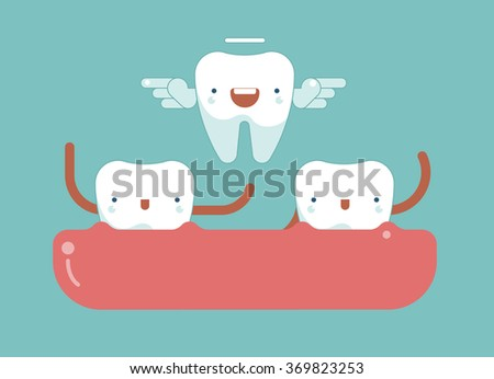 Tooth wings for milk tooth ,dental concept - stock vector