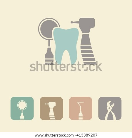 Tooth with dental tools - stock vector