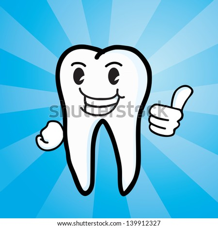 Tooth with thumb up - stock vector