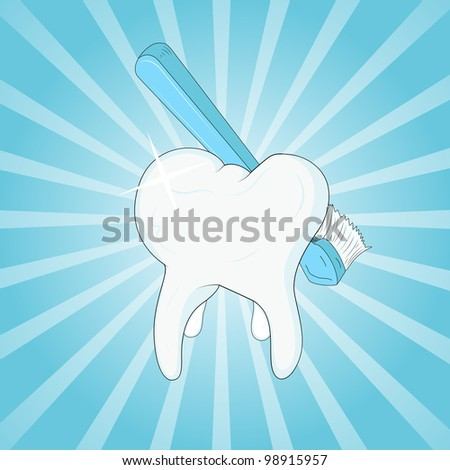 Toothbrush and Tooth Clip Art - stock vector