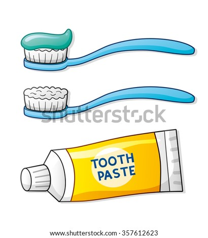 Toothbrush and toothpaste. - stock vector