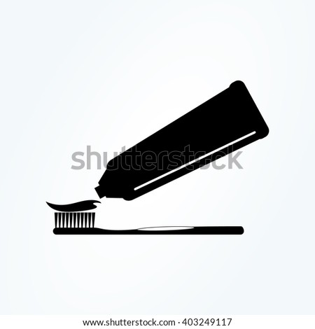 Toothbrush and toothpaste . vector icon - stock vector