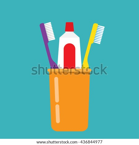 Toothbrush, toothpaste in a glass - stock vector