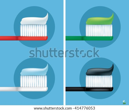 Toothbrush with toothpaste.vector - stock vector