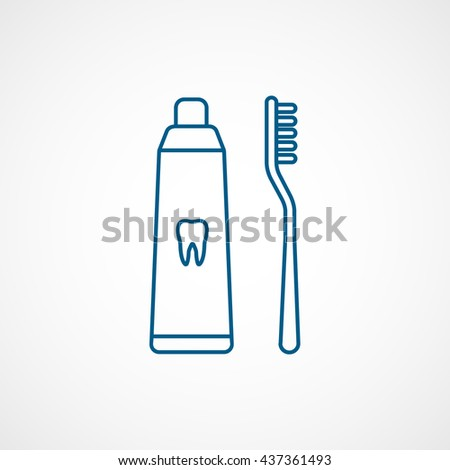 Toothpaste and Tooth Brush Blue Line Icon On White Background - stock vector