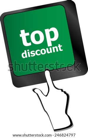 top discount concept sign on computer key - stock vector