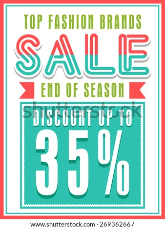 Top Fashion Brands Sale with discount offer, can be used as poster, banner or flyer design. - stock vector