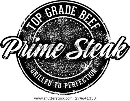 Top Grade Steak Stamp - stock vector
