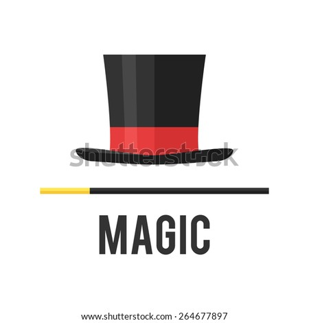 Top hat magician with a cane. - stock vector