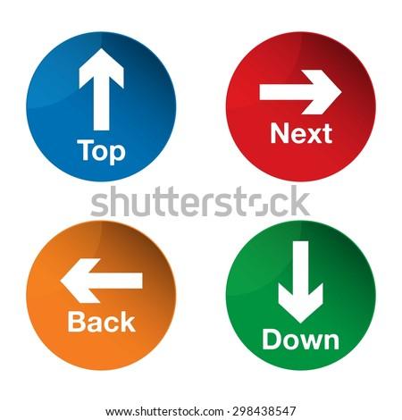 Top icon. Down icon. Next icon. Back icon. Arrow icon. Arrow sign. Vector - stock vector