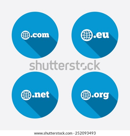 Top-level internet domain icons. Com, Eu, Net and Org symbols with globe. Unique DNS names. Circle concept web buttons. Vector - stock vector