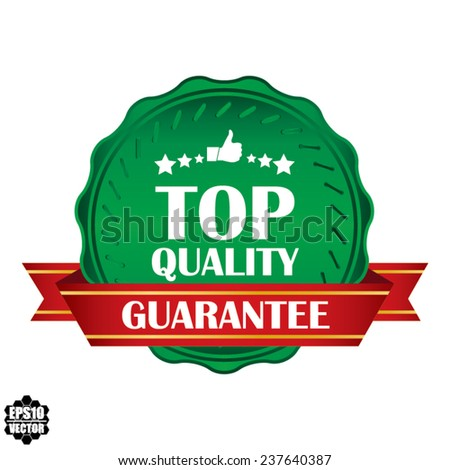 Top Quality  Award Green Symbol, Sign, Icon,Label And Tag With Stars Stickers. Certificate Emblem Labels. Vector Badge With Red Ribbon. - stock vector