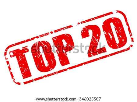 TOP 20 red stamp text on white - stock vector