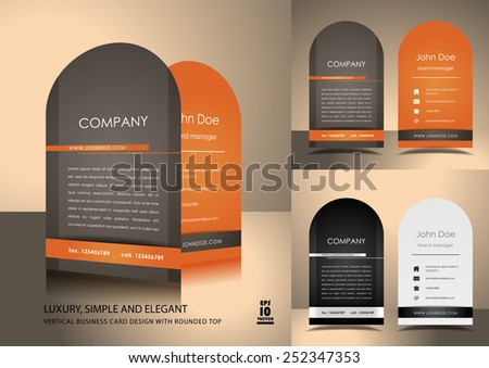 Top rounded vertical business card design - stock vector