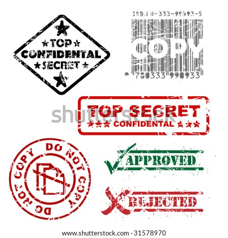 Top secret, approved, rejected, top confidental, copy stamps - stock vector