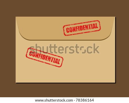 Top secret document in envelope. Rubber stamp - grungy illustration with text Confidential. - stock vector