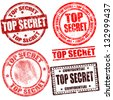 Top secret grunge stamp collection on white background, vector illustration - stock vector