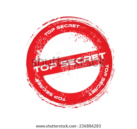 top secret grunge vector stamp - stock vector