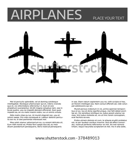 Top view airplanes vector icon set. Different airplane silhouette collection. Modern airliners set. Jet and propellers airliners on white background. Document template with sample text and air crafts. - stock vector