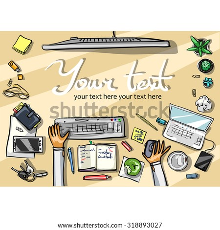 Top view background - office - stock vector