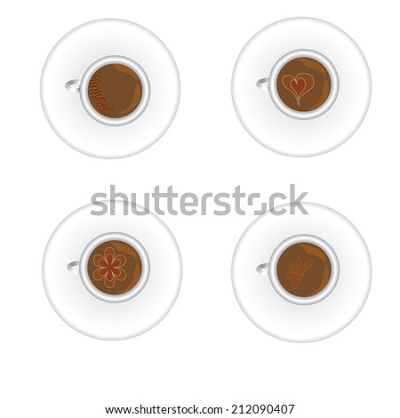 Top view coffee cup isolated on white background. Photo-realistic vector. - stock vector