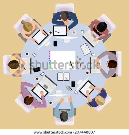 Top view concept of business meeting brainstorming professional people on the table vector illustration - stock vector