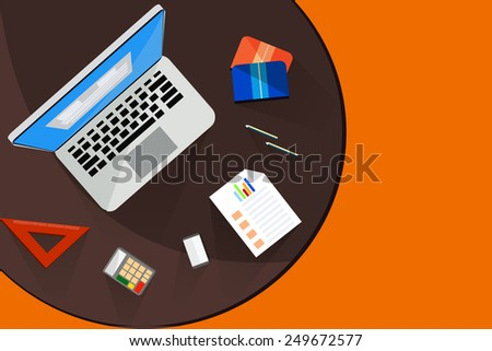 Top view desk for working with shadows. - stock vector