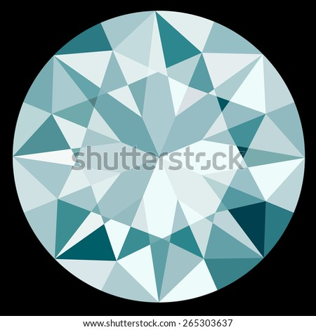 Top View Diamond on Black Background Illustration EPS10 Format - stock vector