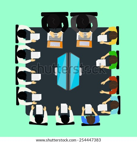 Top view meeting people with tools and computer. - stock vector
