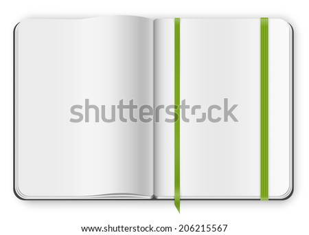 Top view multipaged blank opened copybook moleskine template with bookmark. Vector illustration. - stock vector