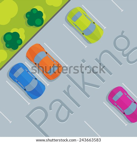 Top view of a car parked. - stock vector