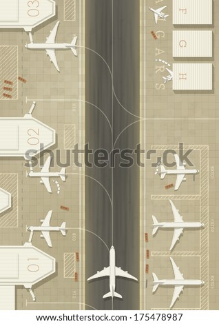 Top view of an airport with 3 types of planes. Simple flat graphic. EPS10 vector image. - stock vector