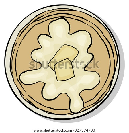 Top view of breakfast food plate, pancakes with butter, isolated on white, vector illustration - stock vector