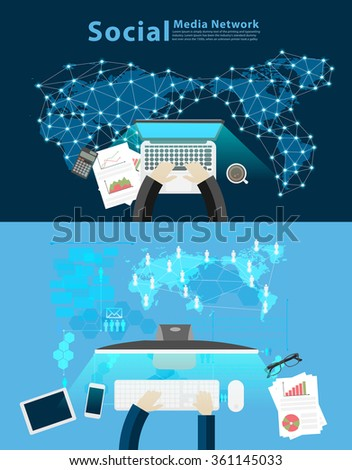 Top view of businessman hand working with creative modern technology social network business strategy concept, consulting, project management, development, Vector illustration layout template design - stock vector