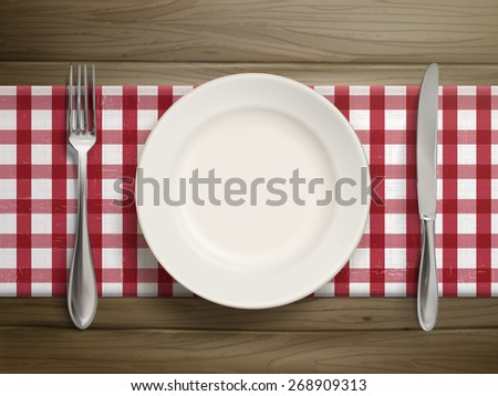 top view of empty plate with spoon and knife placed on wooden table - stock vector