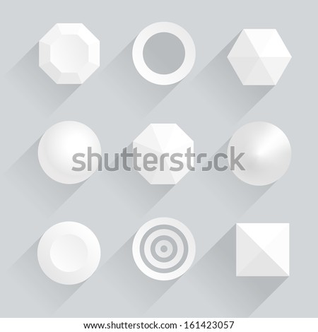 Top view of geometric figures with shadows - stock vector