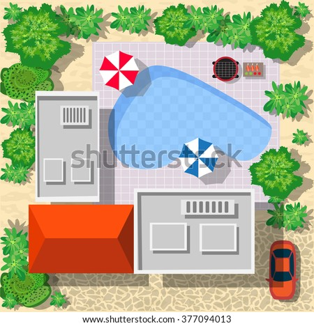 Top view of houses and streets with trees. Vector village and park  from top flat graphic - stock vector