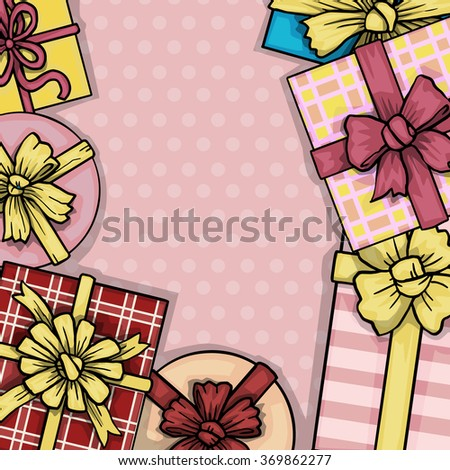 Top view of many colorful gift boxes, with space for your text, vector illustration - stock vector