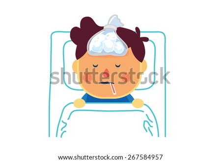 Top view of sick boy with high fever sleeping to resting on bed in patient room of hospital - stock vector