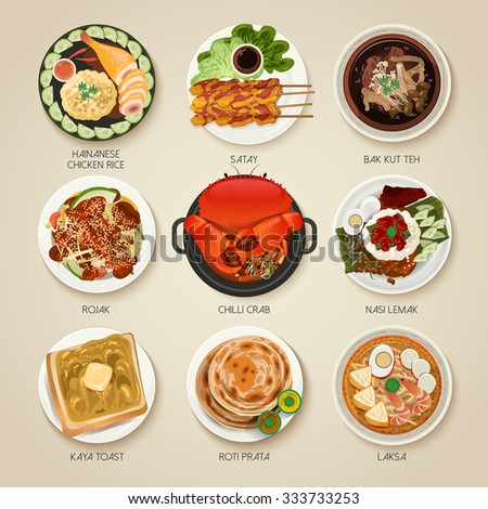 top view of Singapore traditional delicacies collection - stock vector