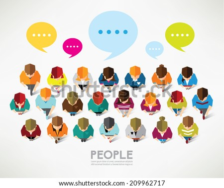 Top view of social people vector design - stock vector