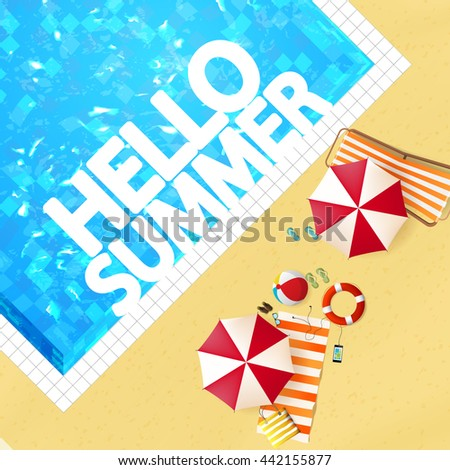 Top view of swimming pool with parasol and other beach things. Detailed Vector illustration. - stock vector