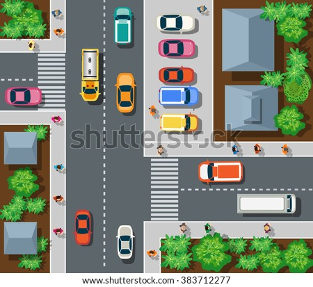 Top view of the city. Top view of urban crossroads with cars and houses. - stock vector