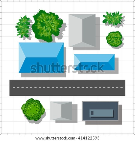 Top view of the city. Urban  street with houses and trees - stock vector